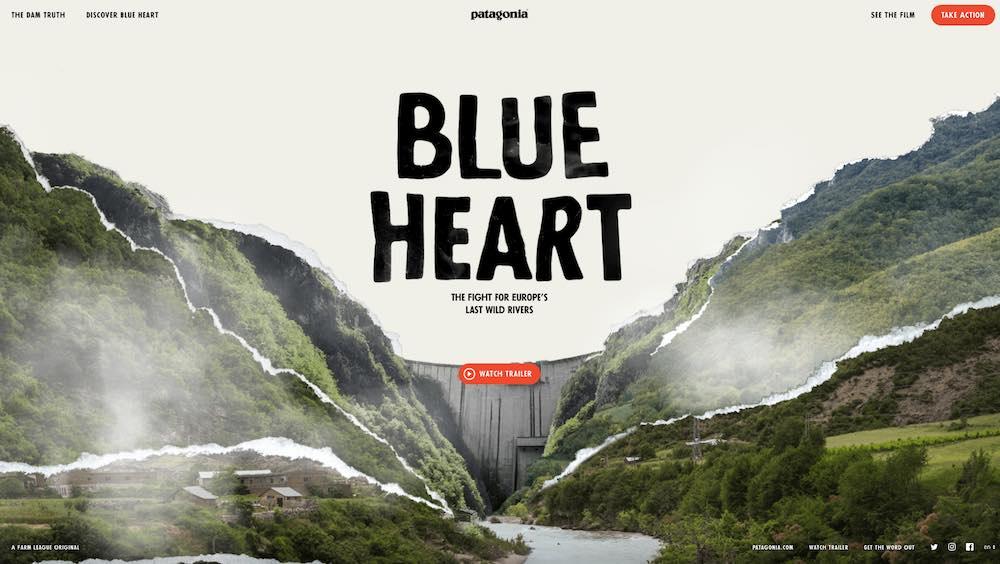 Brochure Websites - Blue Heart by Patagonia