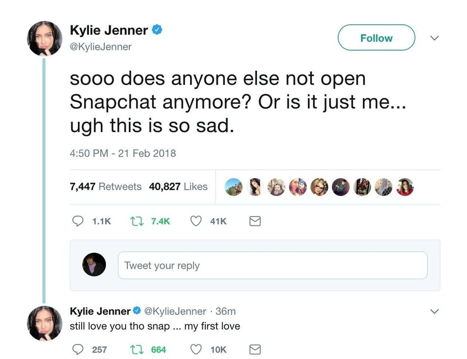 Kylie Jenner Tweets About Snapchat